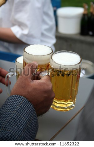 businessman with two beers