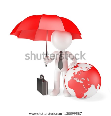 Businessman with Umbrella and earth globe. Global protection concept. Isolated