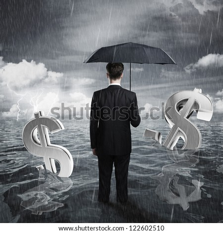 businessman with umbrella business concept