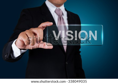Businessman with vision text label. #338049035