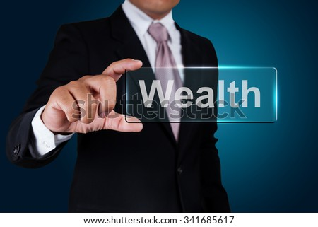 Businessman with wealth text label. #341685617