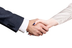 Businessman with woman shaking hands.