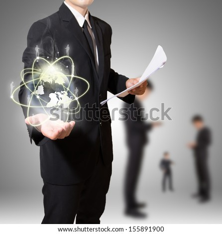 businessman with world of connection