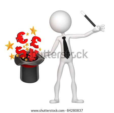 Businessman wizard make money from his hat. Money trick. Isolated on white