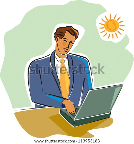 Businessman working at his laptop
