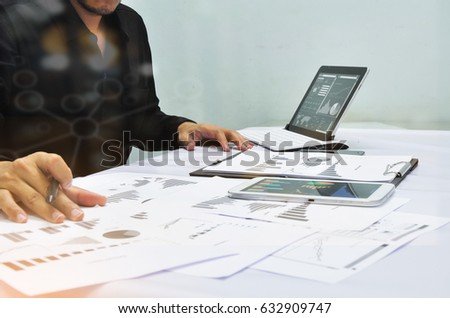 Businessman working at office. Digital tablet laptop computer smart phone using, keyboard. Connection internet application online. Finance manager. Banking. Professional investor. - Shutterstock ID 632909747