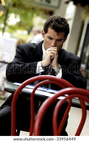 businessman working at restaurant