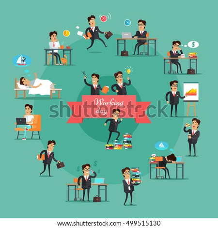 Businessman working day set. Young businessman in black business suit and tie in various work situations. Business people in office. Office life collection.  illustration in flat design.