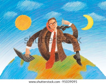 Businessman working global day and night illustration