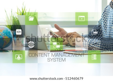 Businessman working in office and Content Management System icons concept #512460679