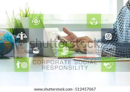 Businessman working in office and Corporate Social Responsibility icons concept #512457067