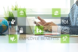 Businessman working in office and Employee Benefits icons concept