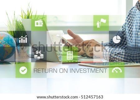 Businessman working in office and ROI icons concept