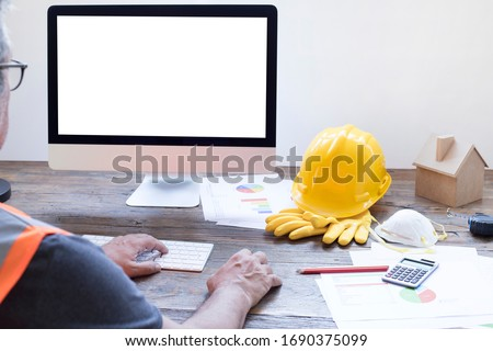 businessman working on computer in office stock photo