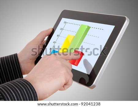 businessman working on financial graph on tablet