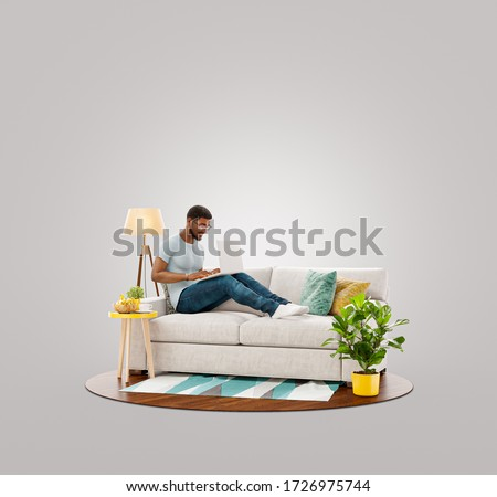 Businessman working on laptop computer sitting on a couch at his home office. Studying, freelance and home office concept. Unusual 3d illustration