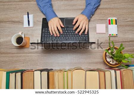 businessman working on laptop...