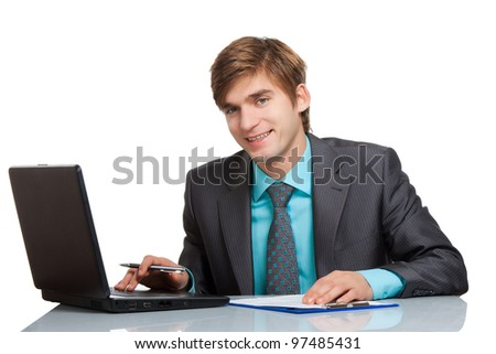 businessman working on laptop, using computer, handsome young business man happy smile sitting at the desk, wear elegant suit and tie isolated over white background