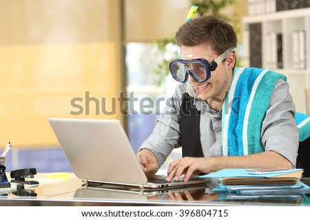 Shutterstock Businessman working on line or searching travel destinations with goggles needing vacations at office