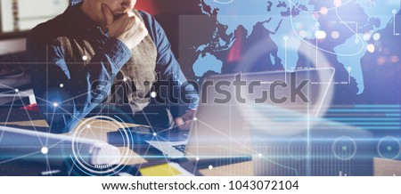 Businessman working on project and analysing the data