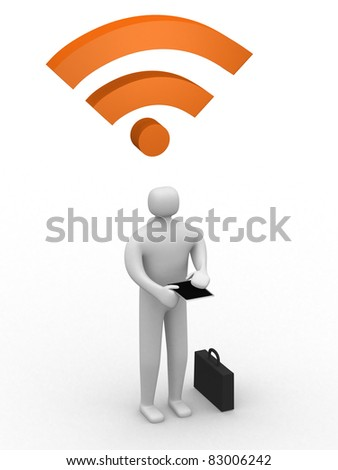 businessman working on tablet pc and rss symbol - 3d illustration