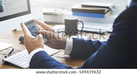 Businessman Working Reading Information Concept