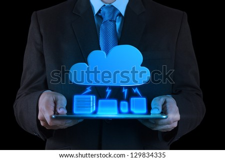 Businessman working with a Cloud Computing diagram on the new tablet computer interface