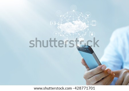 Businessman working with a Cloud Computing on Smartphone  #428771701
