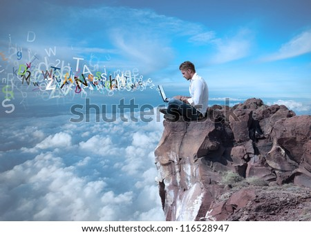 Businessman working with internet and social network
