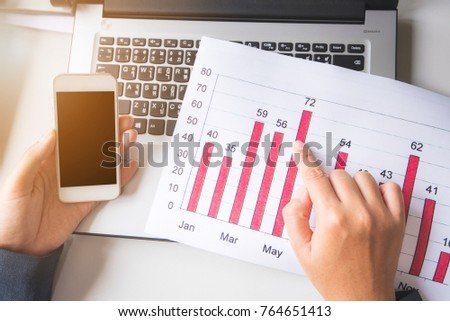 businessman working with laptop at office, financial report concept  - Shutterstock ID 764651413