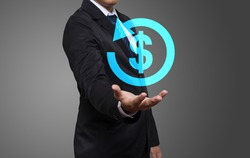 Businessman working with modern virtual technology, hand touching pointing to businessman icon return on investment