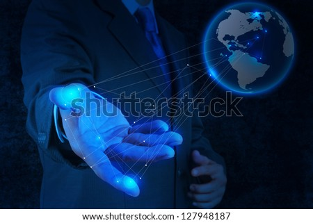 businessman working with new modern computer show social network structure concept