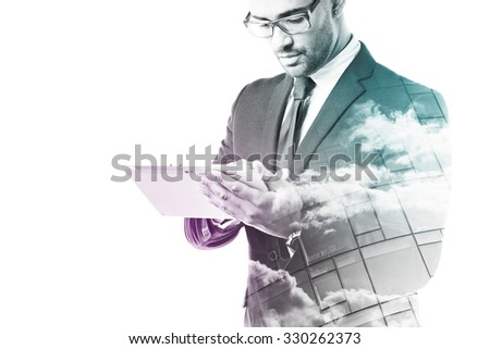 Businessman working with touch pad isolated on white #330262373