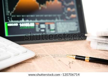 Businessman workplace with digital tablet