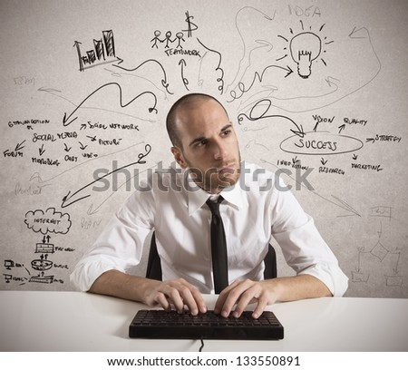 Businessman works for a business project