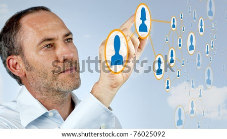 Businessman works with social network