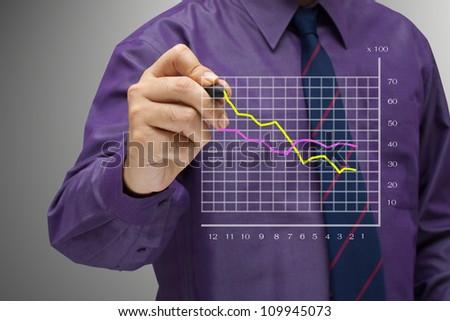 Businessman write a success graph