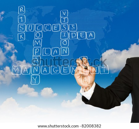 Businessman write Crossword Puzzle of strategy plan to be successful in his business