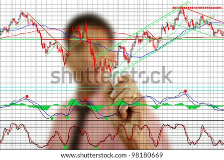 Businessman write finance graph for trade stock market on the whiteboard.