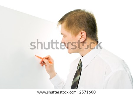 businessman write marker on the white desk on whie background