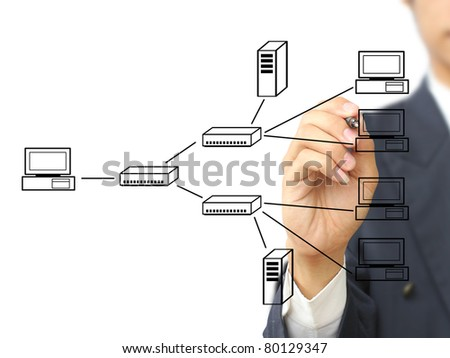 Businessman write multi point connection