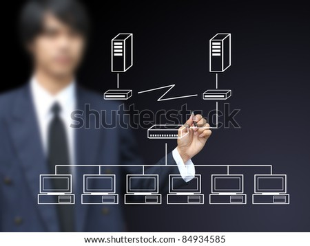 Businessman write multi point connection