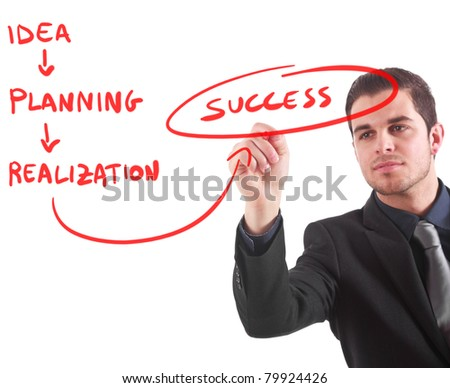 Businessman writing a business plan
