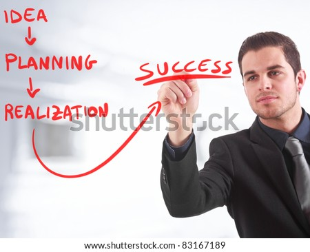 Businessman writing a business plan on the screen