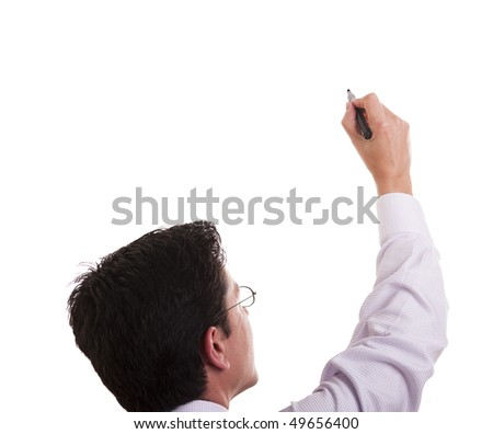 businessman writing at the whiteboard (isolated on white)