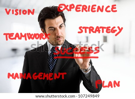 stock photo : Businessman writing business concepts on the screen