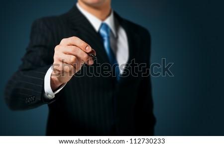 businessman writing  drawing on ...