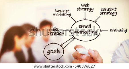 Businessman writing emarketing terms in front of a business team 3d