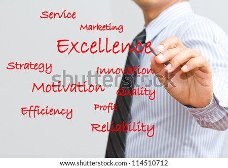 Businessman writing excellence and marketing wording
