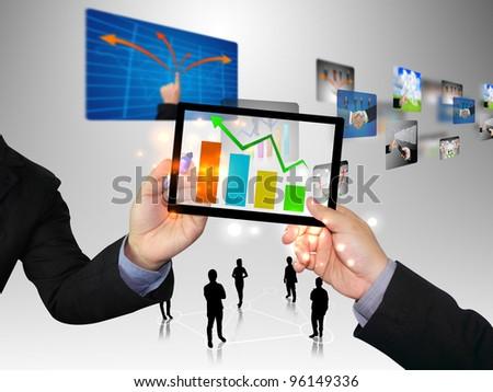Businessman writing graph